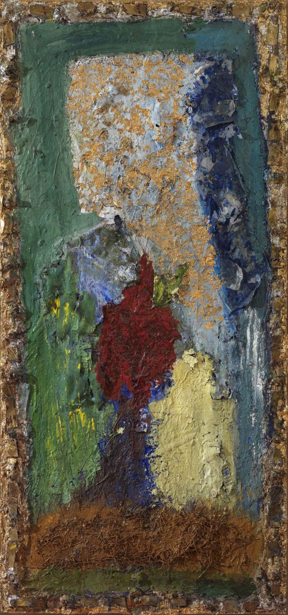 Mixed media on canvas.  Sand --earth -resins- pigments . Dimensions 150X70