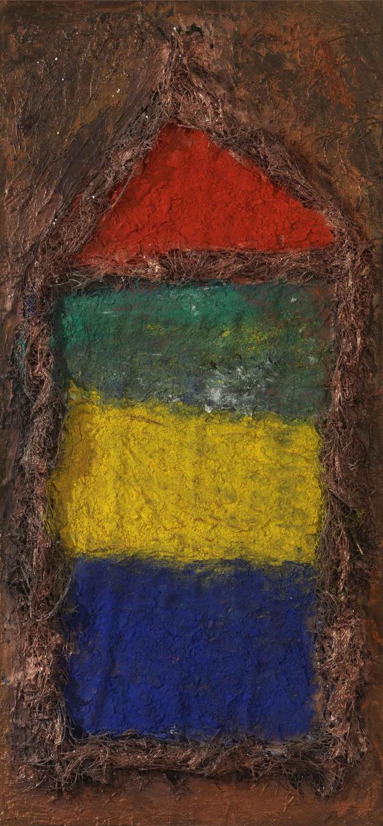 Mixed media on canvas.  Sand --earth -resins -ash -pigments Dimensions 150X70