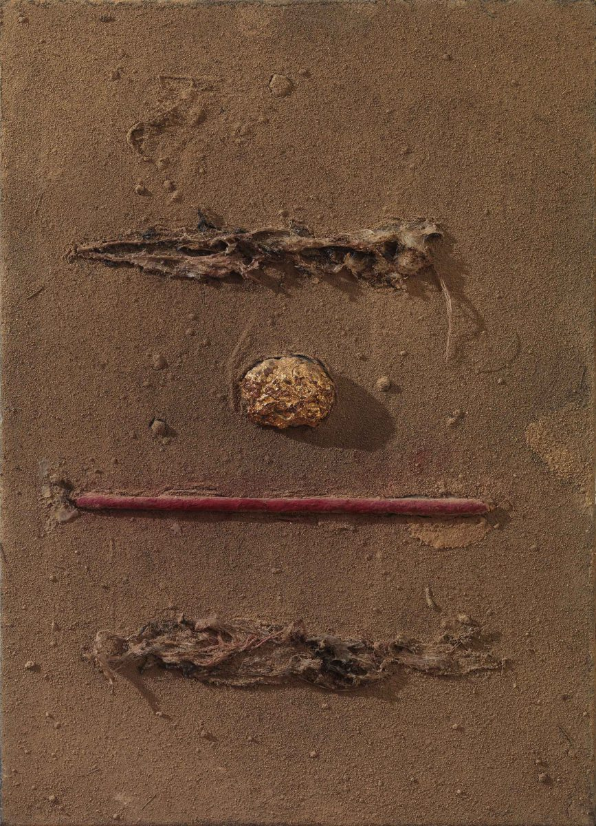 Mixed Media on canvas: Burned resins -earth- gold - wood sticks and melted candles.