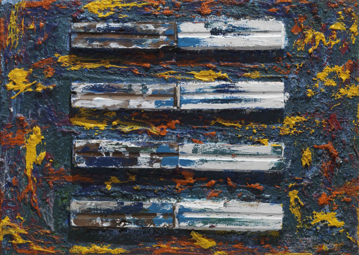 Mixed media on canvas. Oil  - pigments and wood pieces. Dimensions 50X70