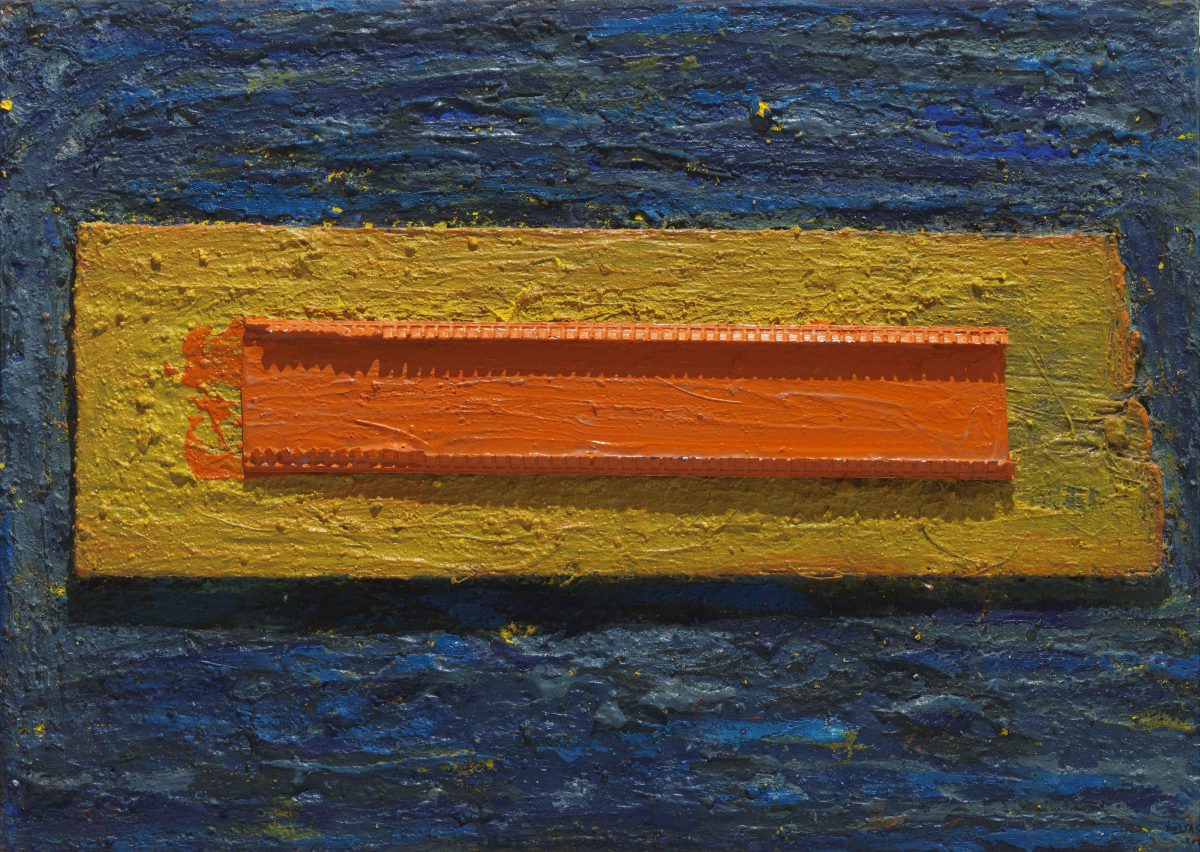 Mixed media on canvas. Oil -pigments and wood pieces. Dimensions 50X70