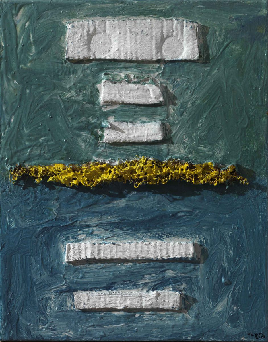 Mixed media on canvas. Aluminium- oil  and pigments. Dimensions42X33