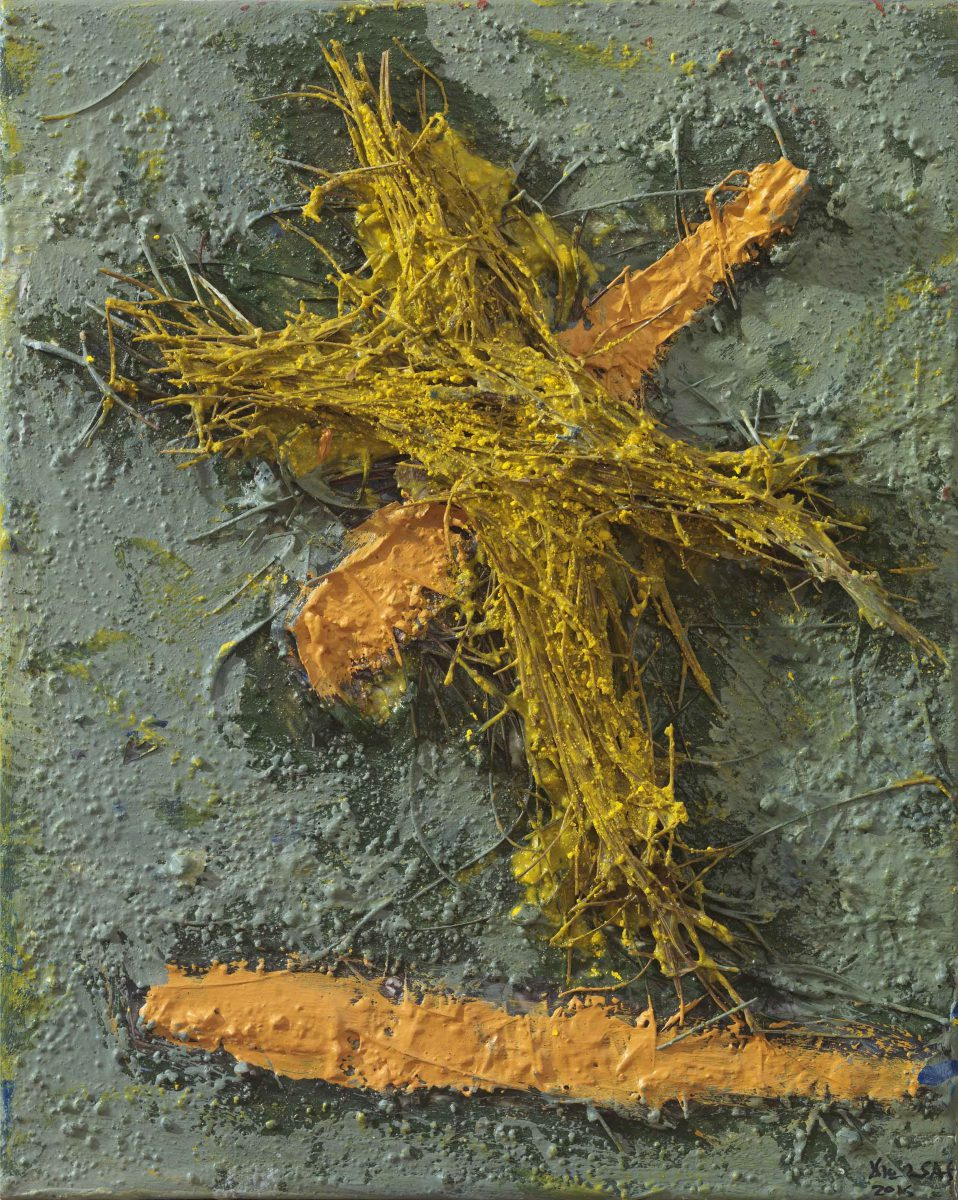 Mixed media on canvas. Pineneedles - oil  and pigments. Dimensions 32X30