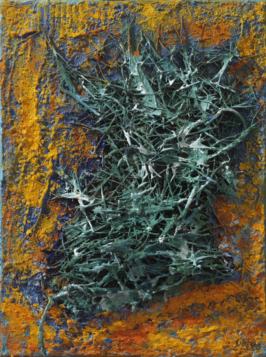 Mixed media on canvas. Pineneedles- oil  and pigments. Dimensions 45X 42