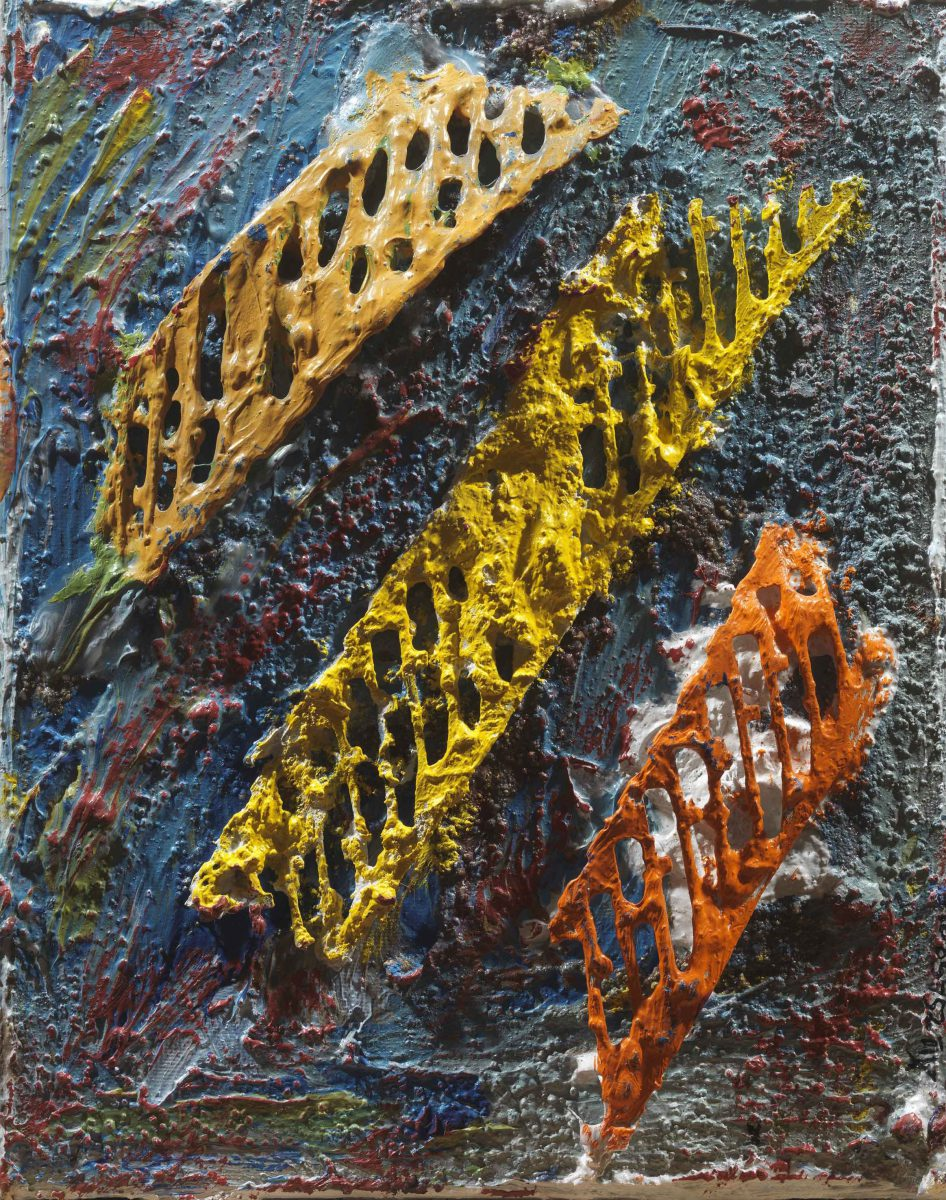 Mixed media on canvas. Aluminium- oil  and pigments. Dimensions 18X23