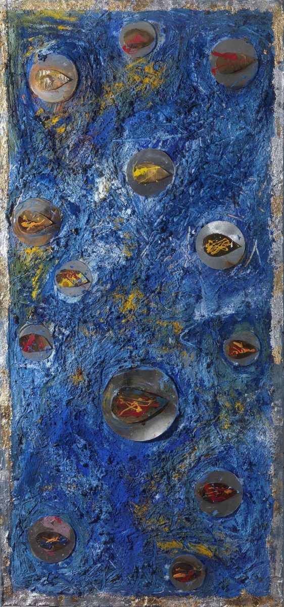 Mixed media on canvas.  Sand --earth -resins -ash -pigments.Dimensions 150X70