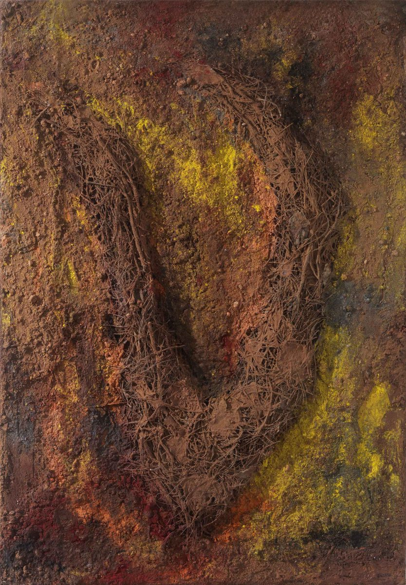 Mixed media on canvas.  Earth -resins -ash -- pineneedles -pigments. Dimensions 70X100