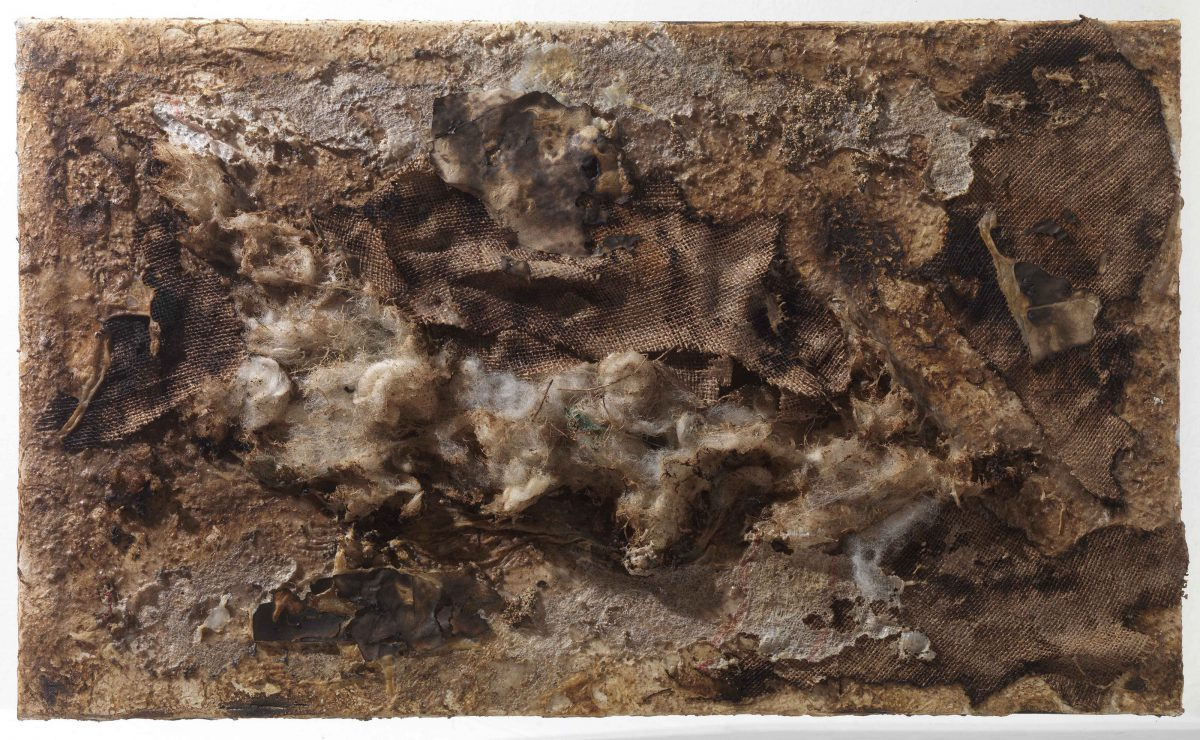Mixed media on canvas:  Burned  materials  -  resins- textiles-  resins-  and plastic. Dimensions 70X42.