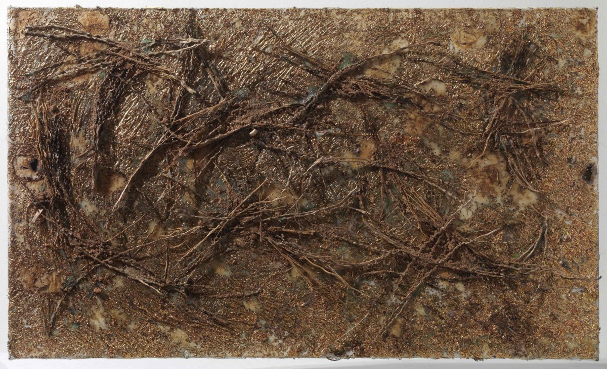 Mixed media on canvas:  Burned  materials  -  resins-   earth -gold  and wood sticks. Dimensions 70X42.