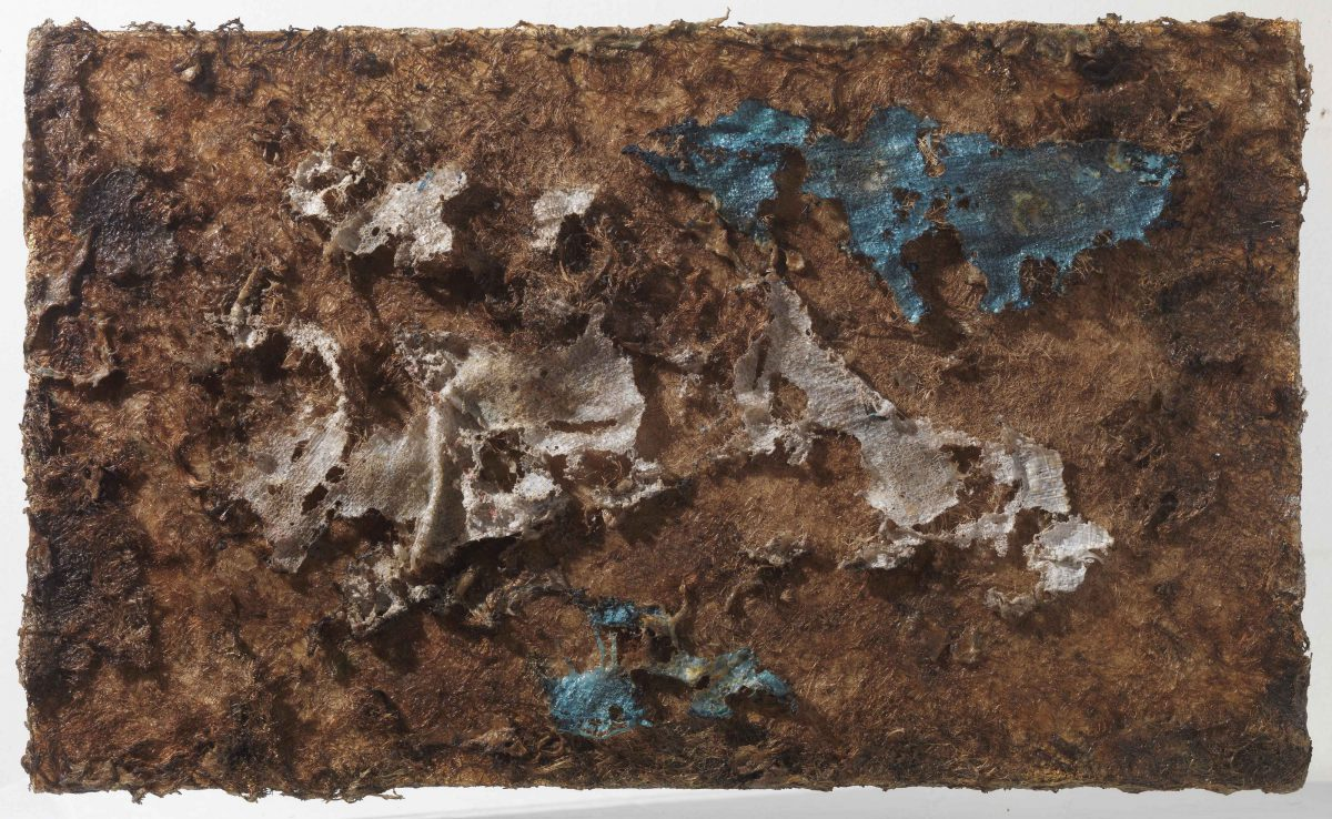 Mixed media on canvas:  Burned  materials  -  resins-   earth and wood sticks. Dimensions 70X42.