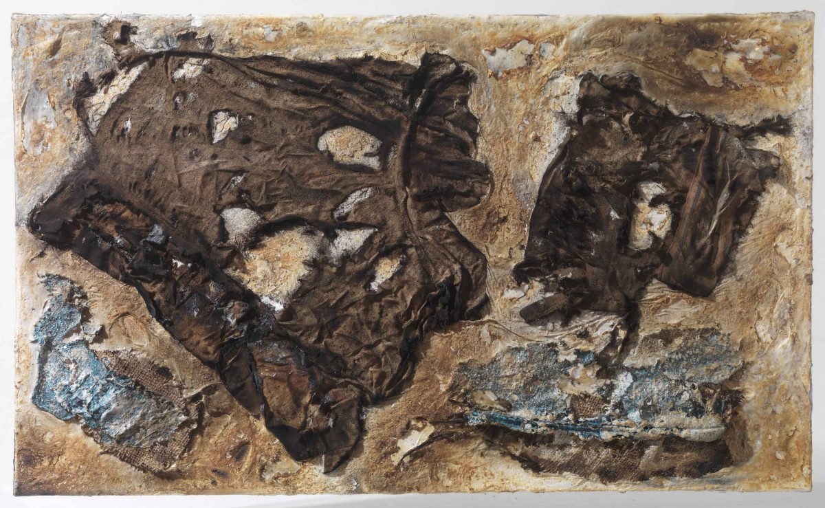 Mixed media on canvas:  Burned  materials  -textiles-  resins-  and plastic. Dimensions 70X42