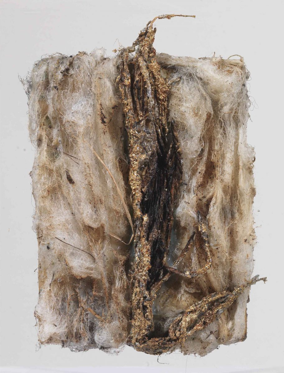 Mixed Media on canvas: Burned wool - resins- textiles and wood sticks.Dimensions 20X15.