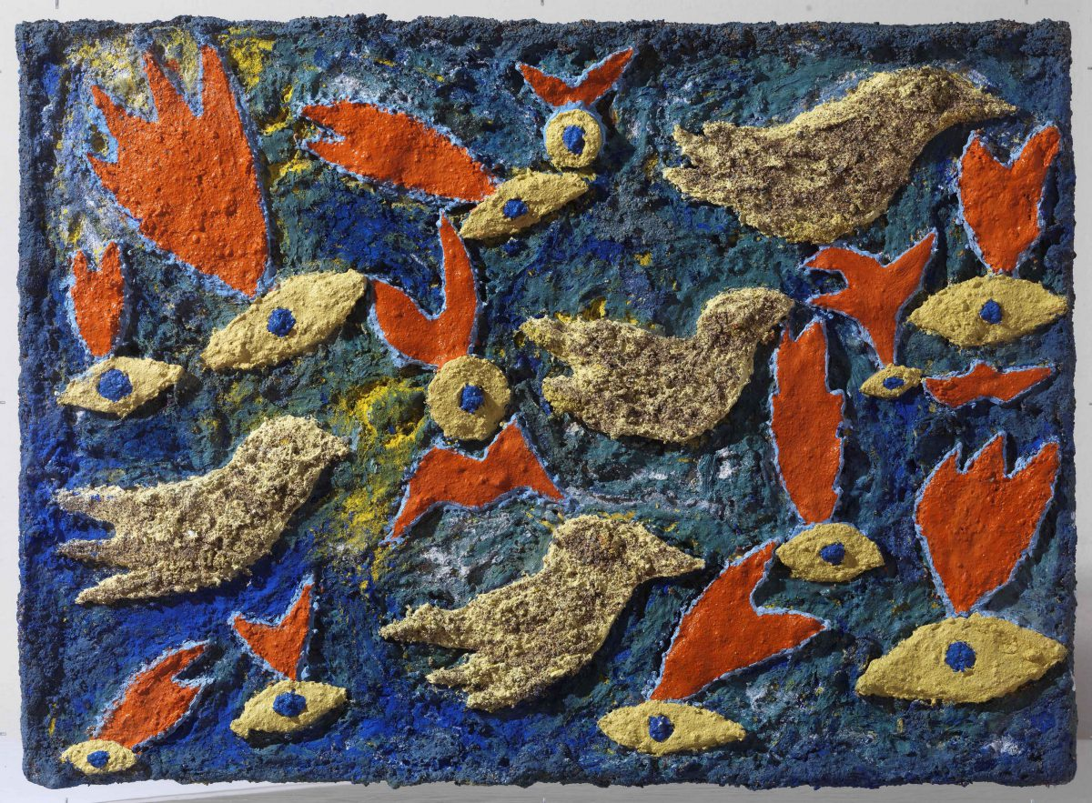 Mixed media on canvas.  Sand -resins -ash -pigments. Dimensions 50X70