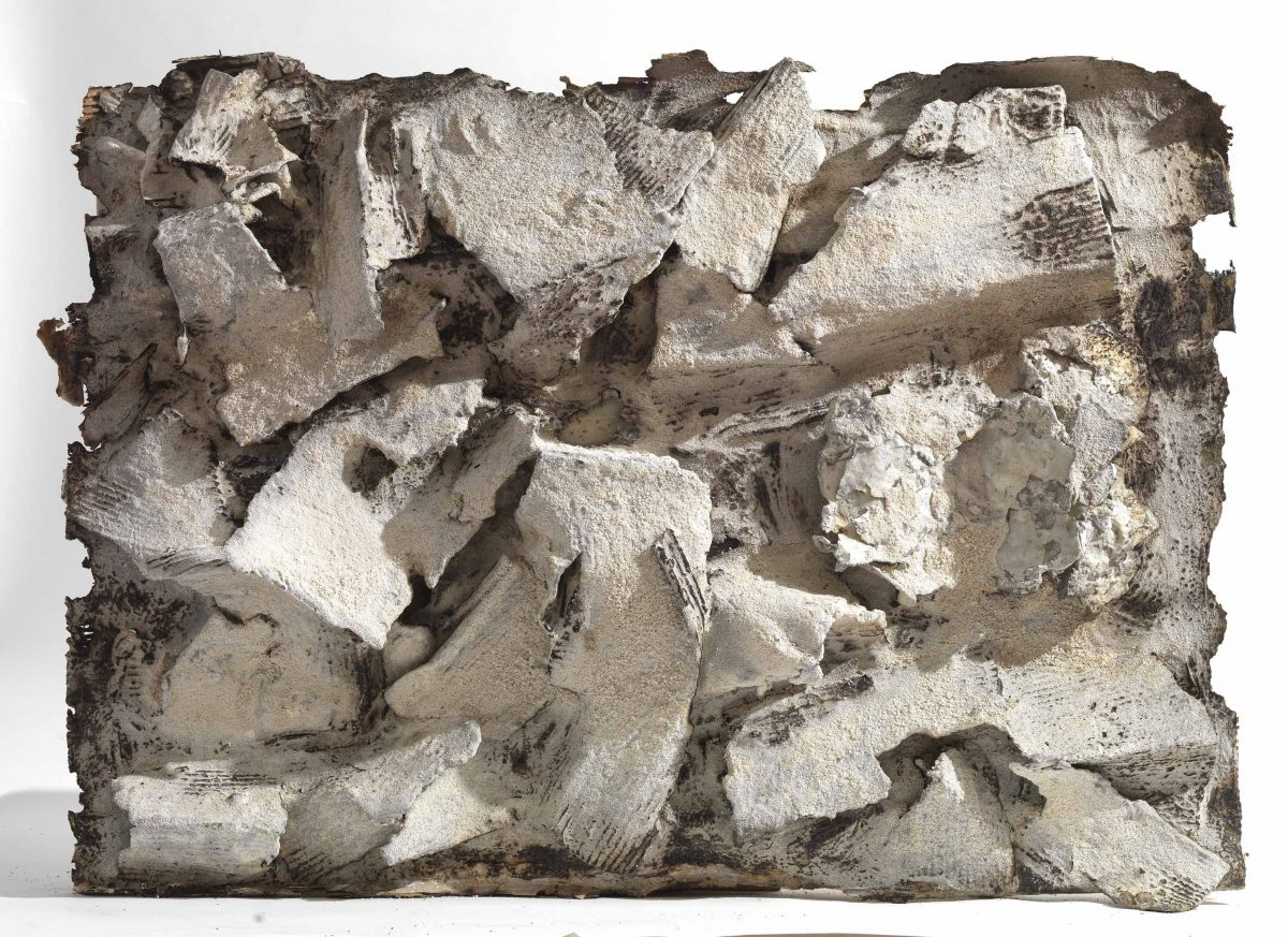 Mixed Media: burned white cement- marble  -resins . Dimensions 90X65