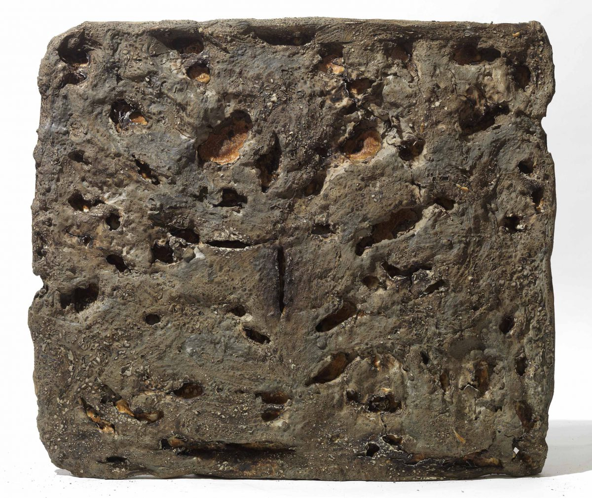 Mixed Media: burned  grey cement -resins- . Dimensions 50X50-
