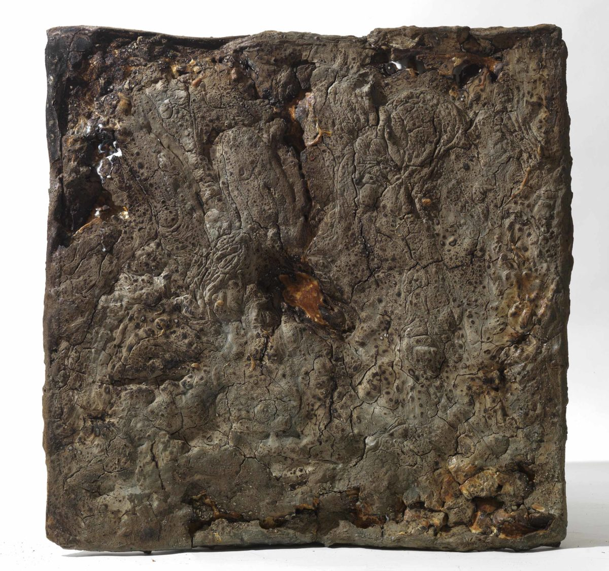 Mixed Media: burned  grey cement -resins- . Dimensions 50X50