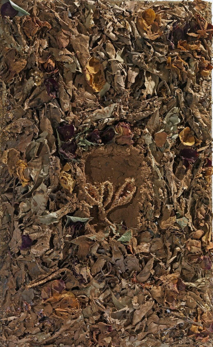 Mixed Media on canvas: Burned resins -earth-dry leaves- gold - wood sticks. Dimensions 40X45