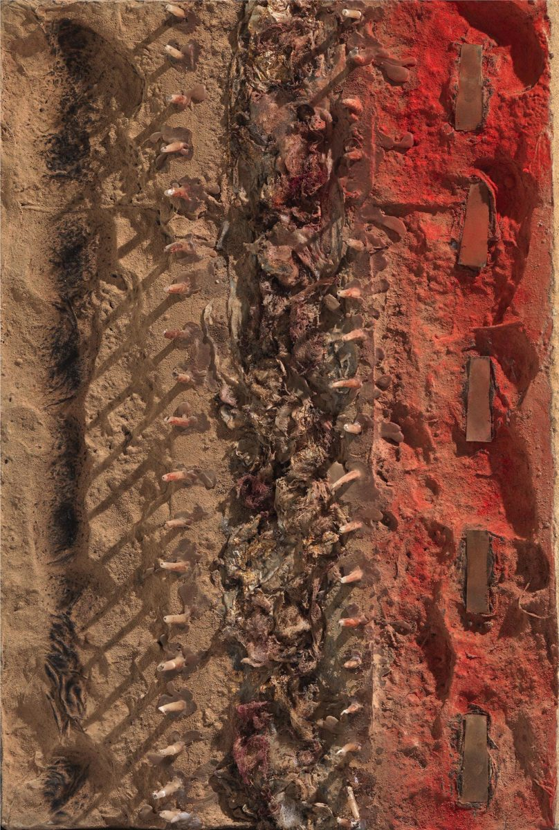 Mixed Media on polymer surface. Earth - resins- melted candles. Dimensions  45X80