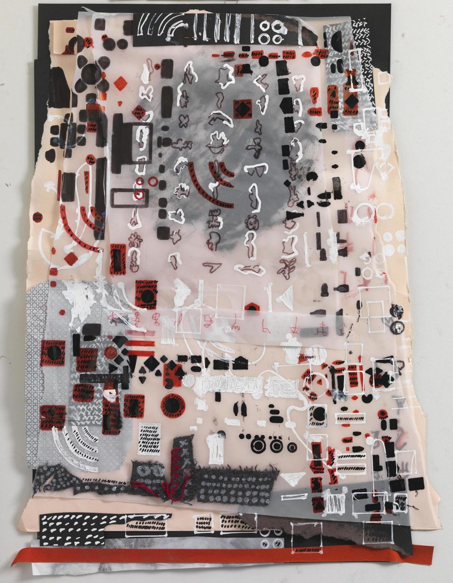 Mixed media on paper. Chinese ink and collage on rice paper. Dimensions 55x38.Year 2017
