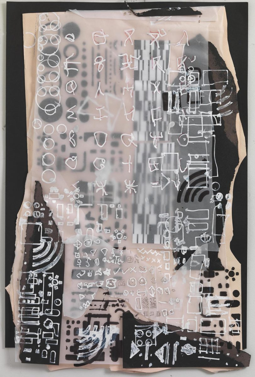 Mixed media on paper. Chinese ink and collage on rice paper and plastic. Dimensions 53x35.Year 2017