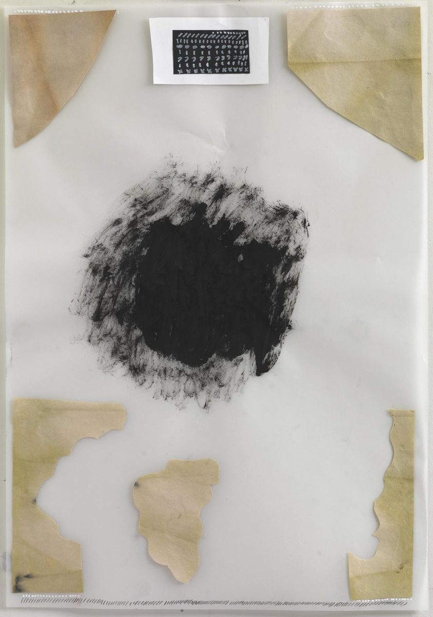 Mixed media on paper.Chinese ink and collage on rice paper and plastic. Dimensions 50x35.Year 2017