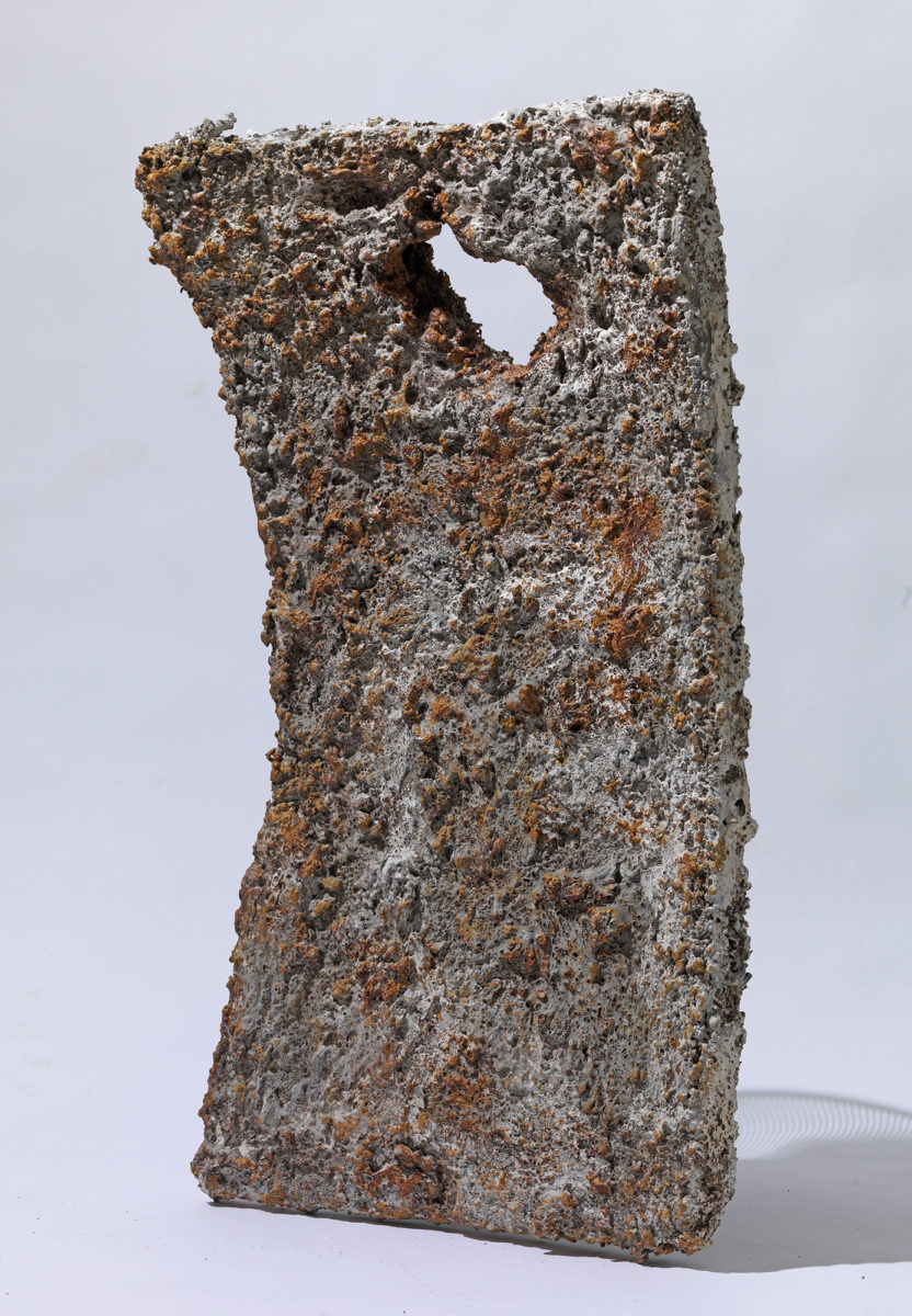 Mixed Media: burned  grey and white cement -resins and pigments.Dimensions 72X40