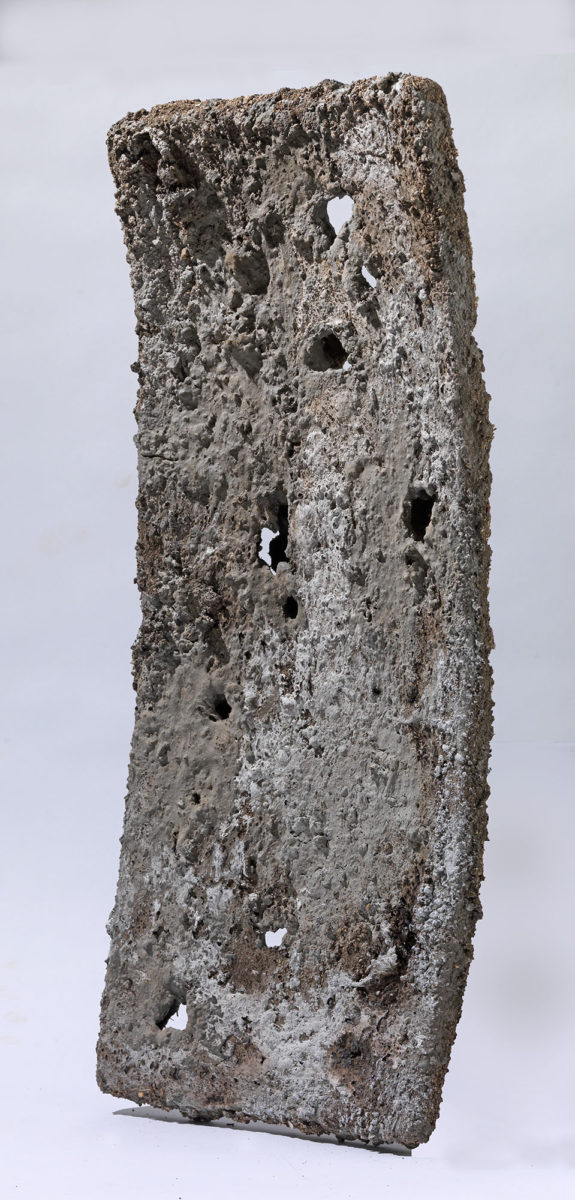 Mixed Media: burned  grey and white cement -resins and pigments.Dimensions 82X30