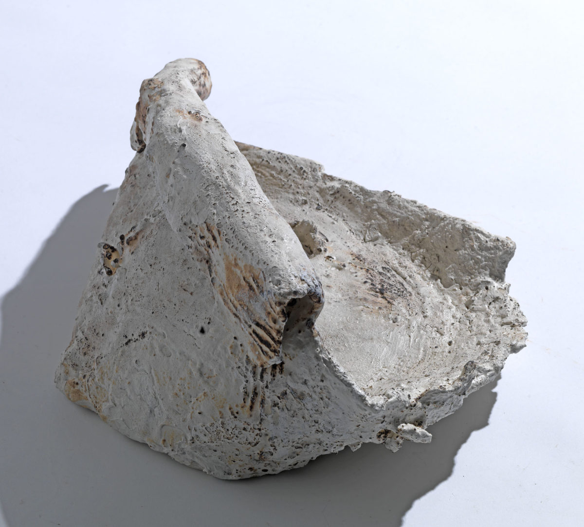 Mixed Media: burned  grey and white cement -resins.Dimensions 21X17