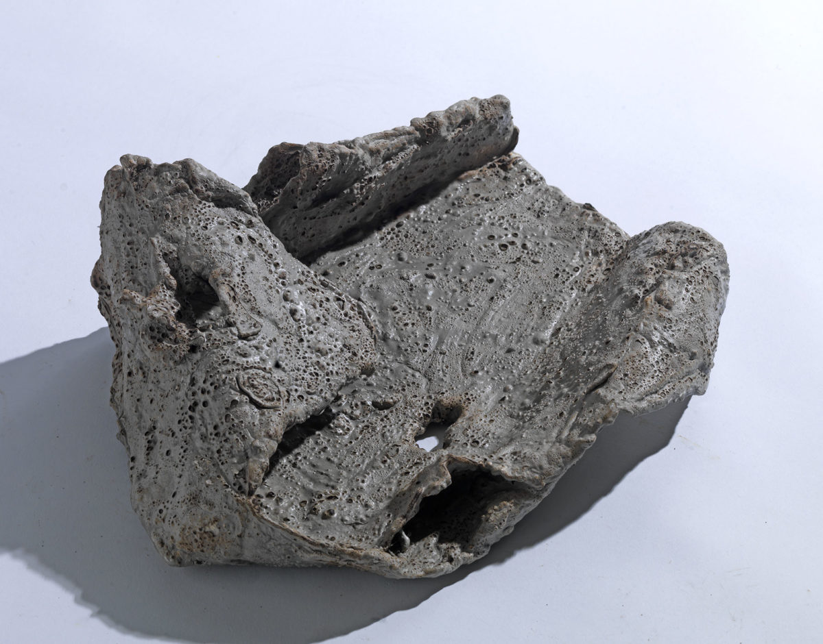 Mixed Media: burned  grey and white cement -resins.Dimensions 24X15