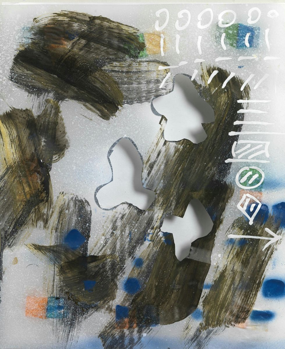 acrylic painting and marker on chinese rice paper for calligraphy.Dimensions 20x23x2,5