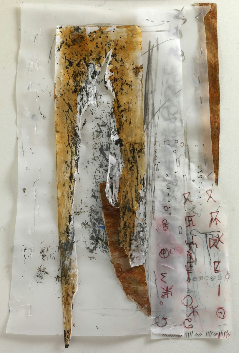 Acrylic painting on  rice paper and collage.Dimensions 32x21