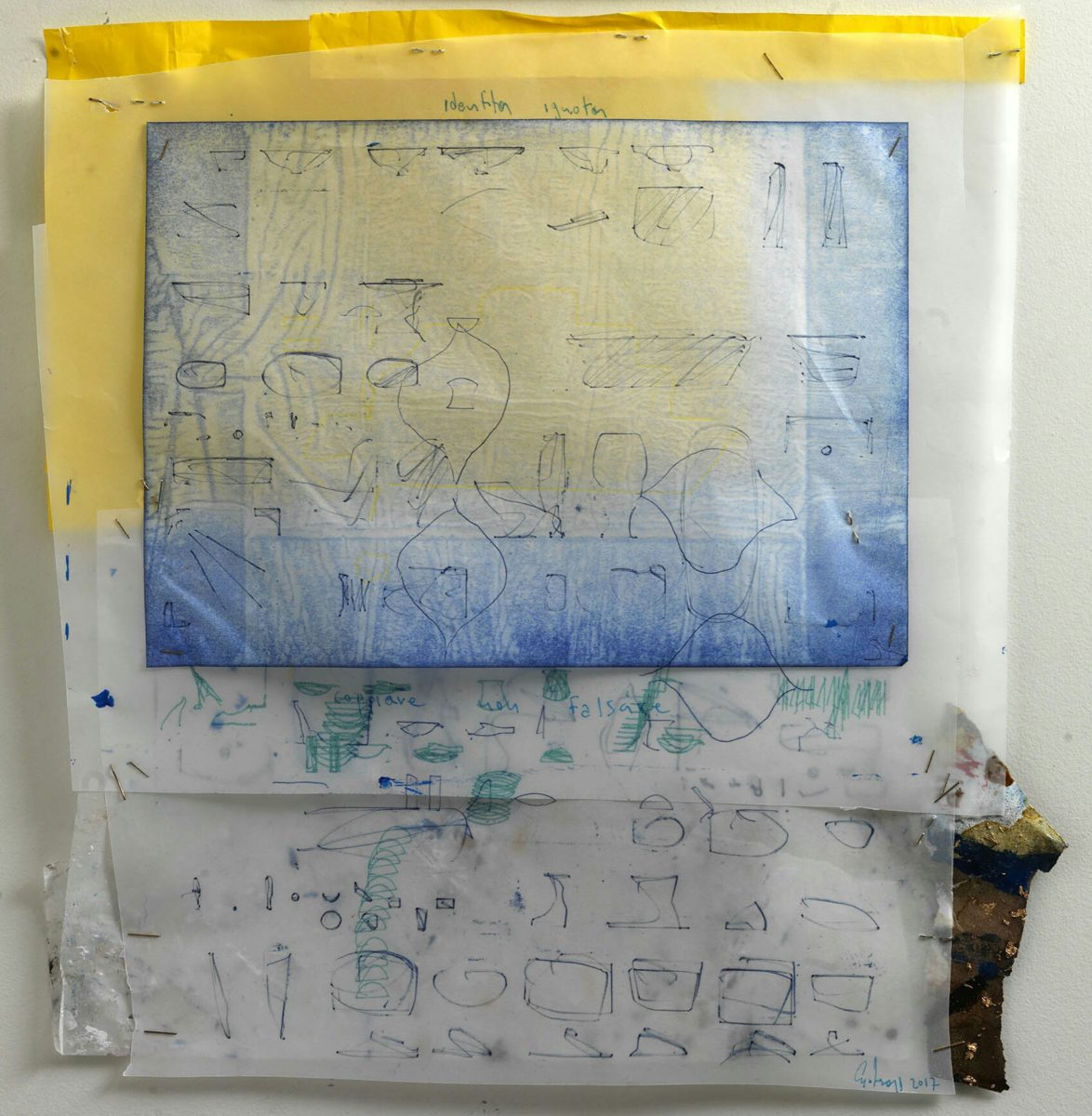 Acrylic painting on  rice paper and collage.Dimensions 30x25