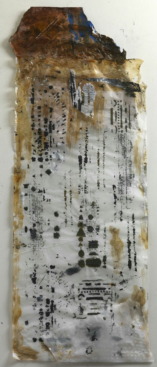 Acrylic painting on  rice paper and collage.Dimensions 73x35