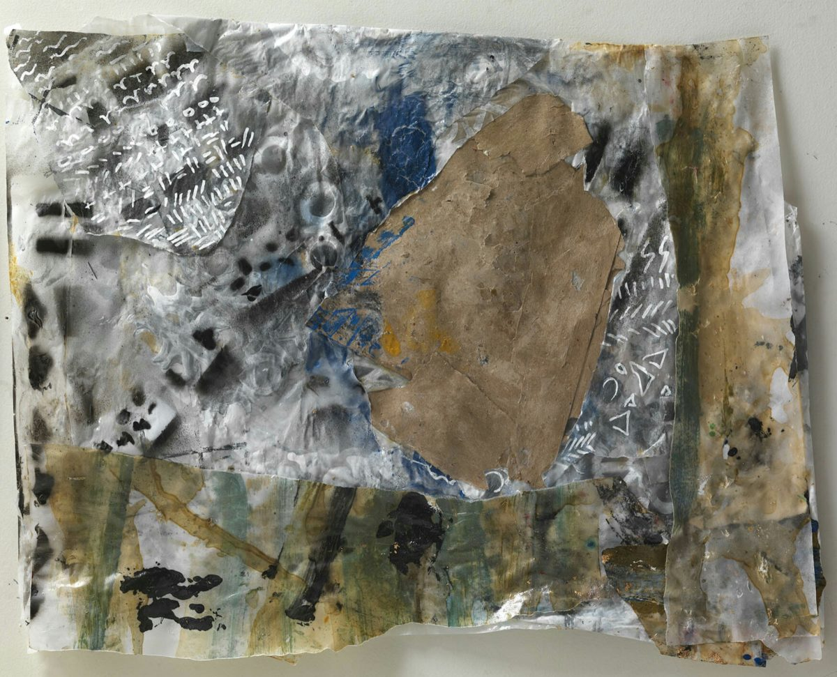Acrylic painting on  rice paper and collage.Dimensions 34x45